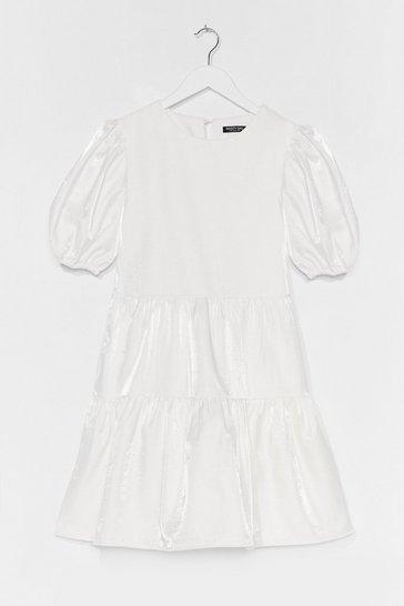 White Always Tier Puff Sleeve Mini Dress