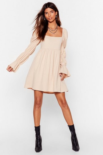 Ecru Sent You a Texture Puff Sleeve Mini Dress