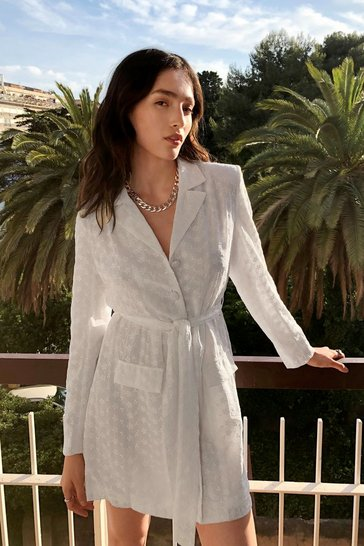 White Broderie Anglaise Belted Blazer Dress