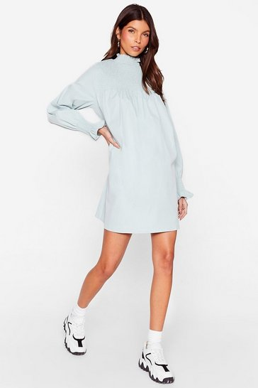 Duck egg Shirred High Neck Smock Dress