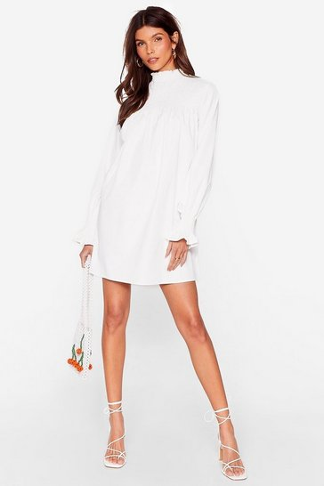 White Shirred High Neck Smock Dress