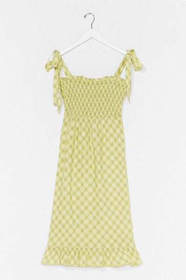 Green Check Back Later Shirred Midi Dress