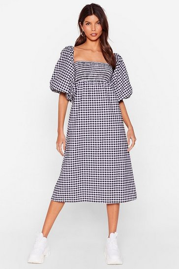 Black  Gingham Puff Sleeve Oversize Smock Dress