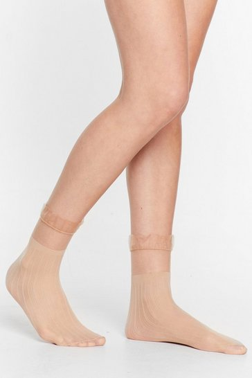 Beige Where There's a Frill Sheer Socks