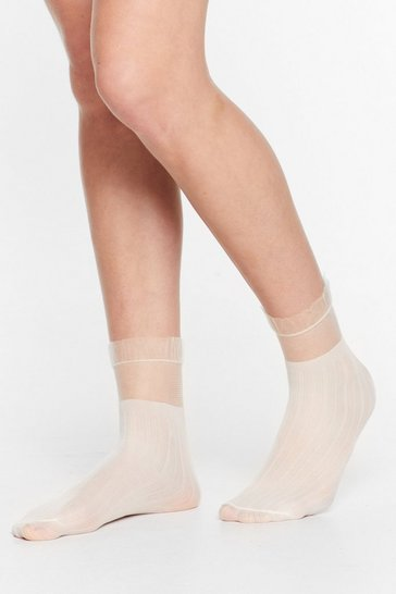 White Where There's a Frill Sheer Socks