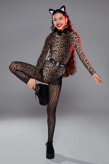 Black Fierce on the Outside Leopard Tights