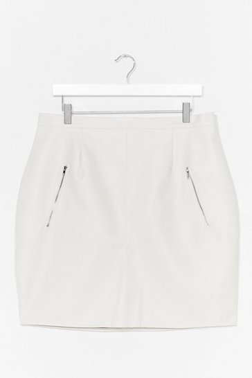 White Zip's Now or Never Plus Faux Leather Mini Skirt