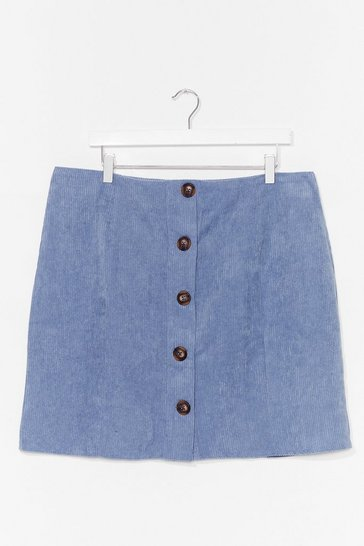 Denim-blue It's Button-Down to You Plus Mini Skirt