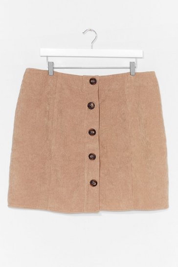 Stone It's Button-Down to You Plus Mini Skirt