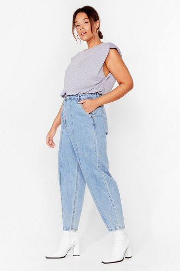 Light blue Plus Size Seam Detail Jeans