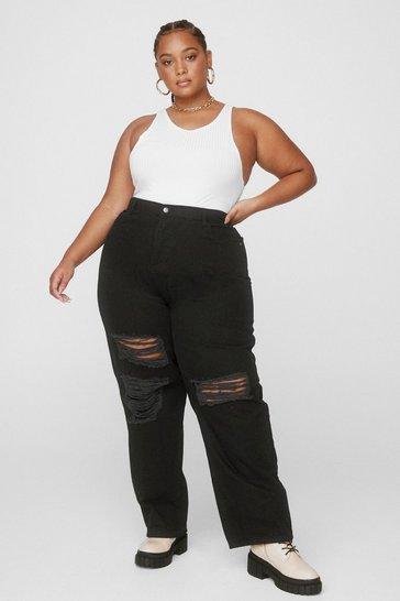 Washed black Plus Size Distressed Straight Leg Jeans
