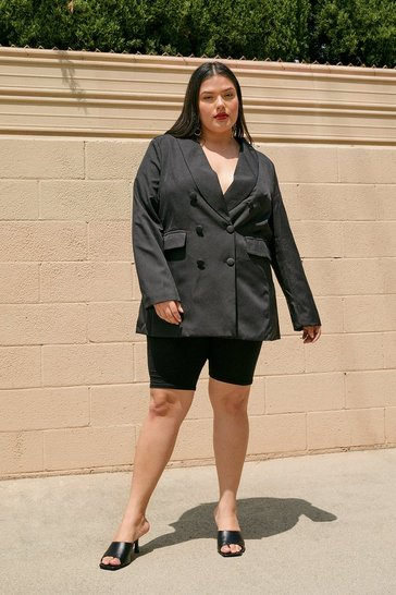 Black Plus Size Curve Collar Oversized Blazer