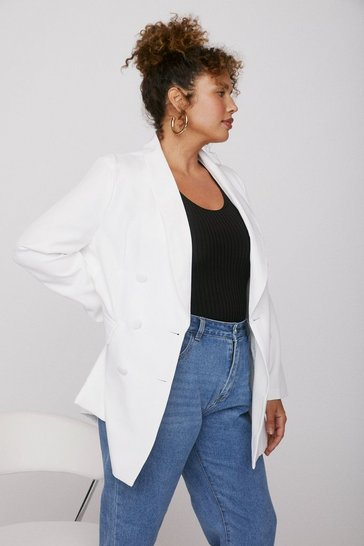 White Plus Size Curve Collar Oversized Blazer