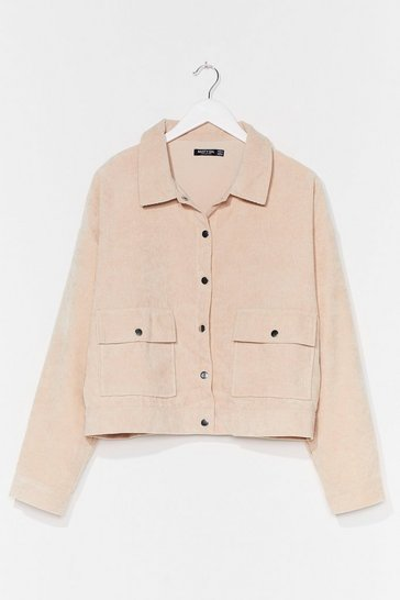 Ecru Nothing But-ton Love Plus Corduroy Jacket