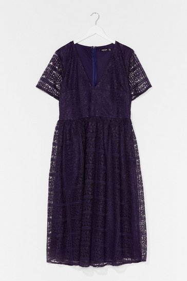 Navy Lace Make Up Our Mind Plus Midi Dress