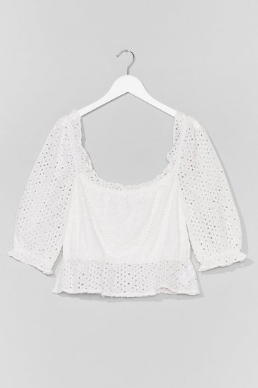 White Broderie What You Mean Plus Top