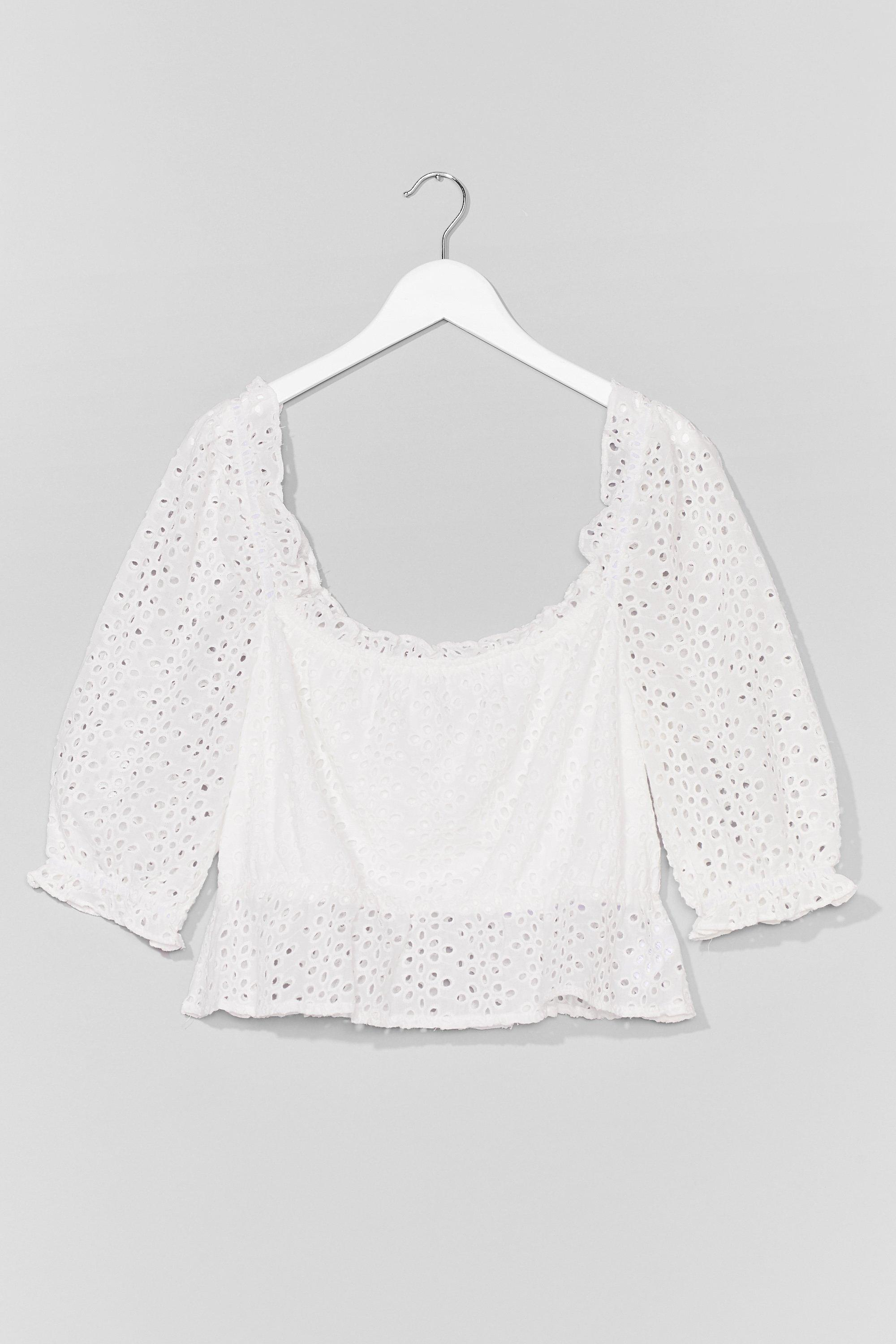 Plus Size Broderie Anglais Puff Sleeve Top 8