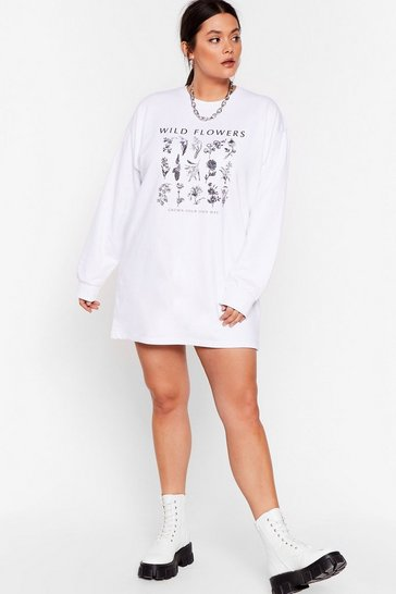 White Grown Your Own Way Plus Graphic Sweatshirt Dress