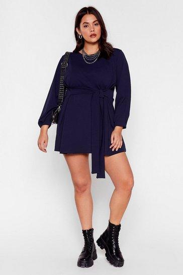 Navy Never Belt Better Plus Mini Dress