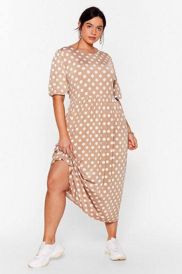Mocha You've Totally Dot This Plus Midi Dress