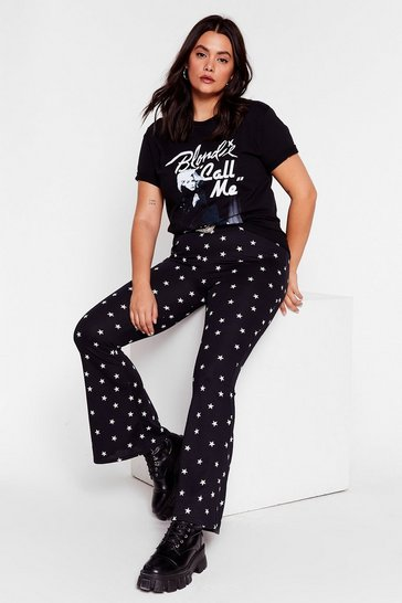 Black Plus Size Star Flares