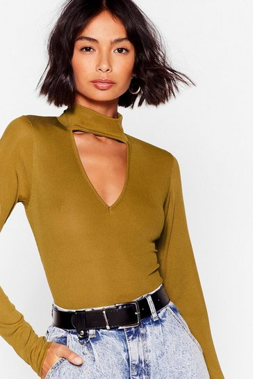 Olive Cut-Out and About High-Leg Bodysuit