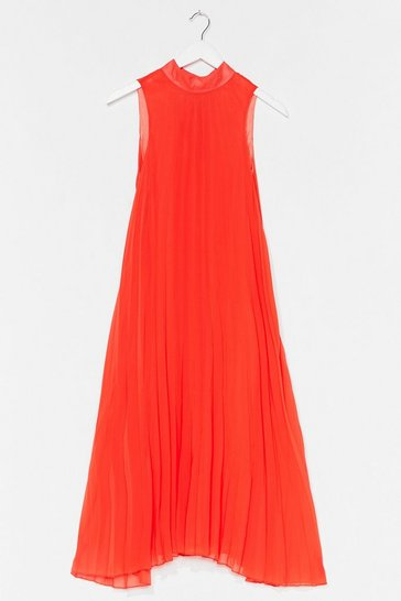 Orange Flow With It Pleated Midi Dress