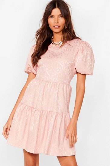 Rose Workin' Jacquard Puff Sleeve Mini Dress