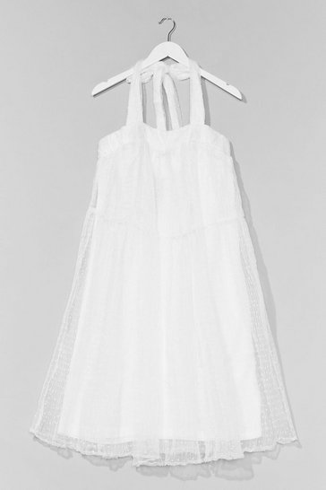 White In the Swing of Things Organza Mini Dress