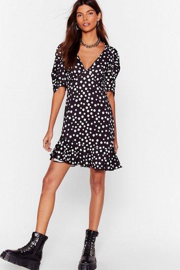 Black Some Spot Stuff Ruffle Mini Dress