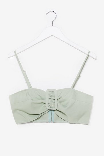 Sage Buckle It Up Buttercup Linen Bra Top