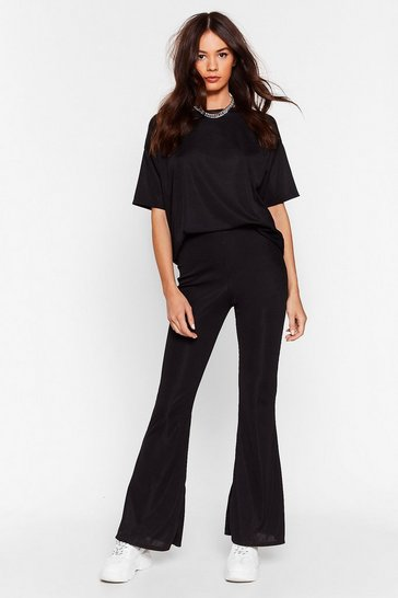 Black Recycled Flare Play Babe Ribbed Tee and Pants Set