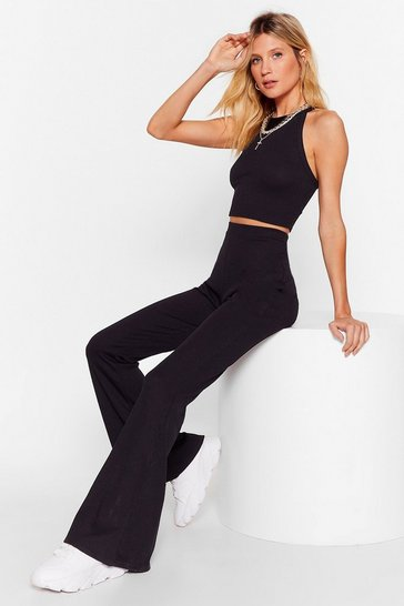 Black Pretend You Flare Top and Pants Lounge Set