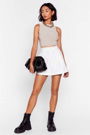 White Are You Button-Down High-Waisted Shorts