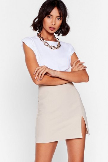 Stone Slit to the Basics High-Waisted Mini Skirt