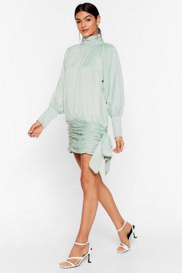 Mint Tie Me a River Satin Mini Dress