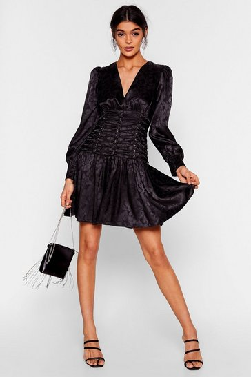 Black Eyelet 'Em Stop and Stare Satin Mini Dress