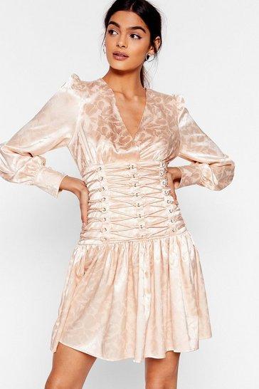 Cream Eyelet 'Em Stop and Stare Satin Mini Dress
