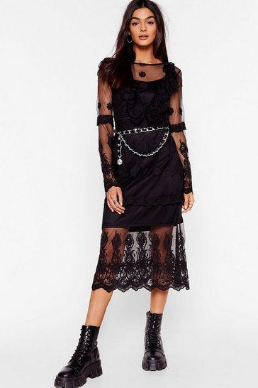 Black Lace Yourself Ruffle Midi Dress