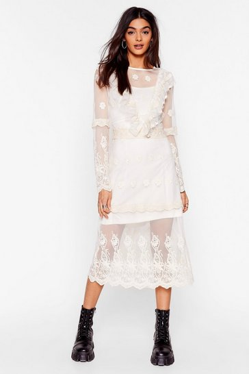 Cream Lace Yourself Ruffle Midi Dress