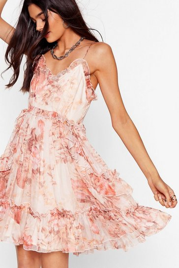 Pink Rootin' For You Floral Ruffle Dress