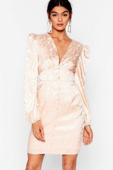 Cream Sleek Low Floral Mini Dress