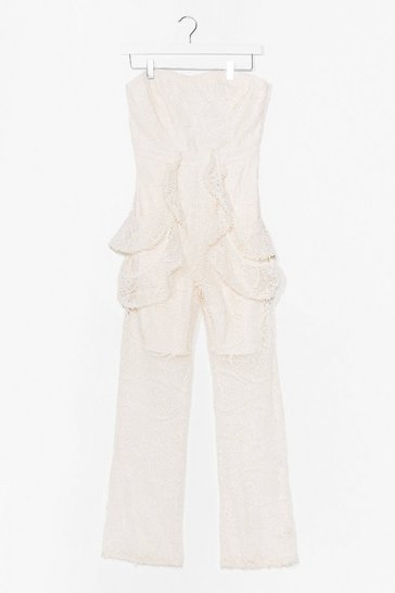 Cream On Their Lace Bandeau Ruffle Jumpsuit