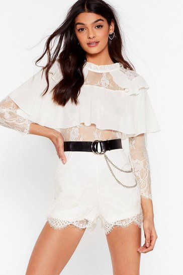 Cream Lacey for You Ruffle High Neck Romper