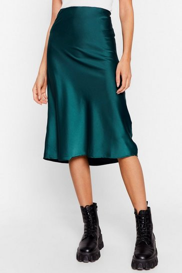 Emerald Slipped and Fell Satin Midi Skirt
