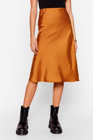 Toffee Slipped and Fell Satin Midi Skirt