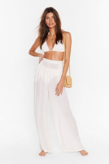 Cream We Sea Everything Wide-Leg Cover-Up Trousers