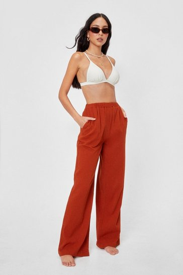 Rust Crinkle High Waisted High Leg Cover Up Pants