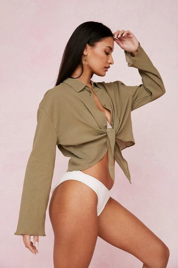 Khaki Crinkle Cropped Tie Cover Up Shirt