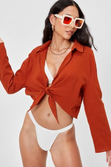 Rust Crinkle Cropped Tie Cover Up Shirt